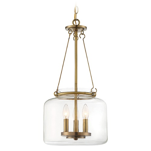 Savoy House Savoy House Lighting Akron Warm Brass Pendant Light with Drum Shade 7-9006-3-322