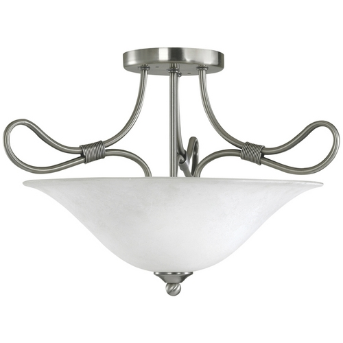 Kichler Lighting Kichler Semi-Flushmount Light with White Glass in Pewter Finish 3757AP