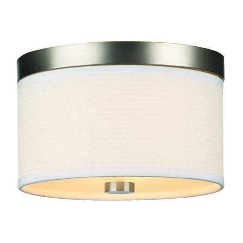 Philips Lighting Modern Flushmount Light with White Shade in Satin Nickel Finish F615236