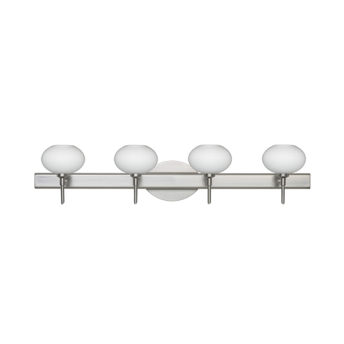Besa Lighting Modern Bathroom Light White Glass Satin Nickel by Besa Lighting 4SW-561207-SN