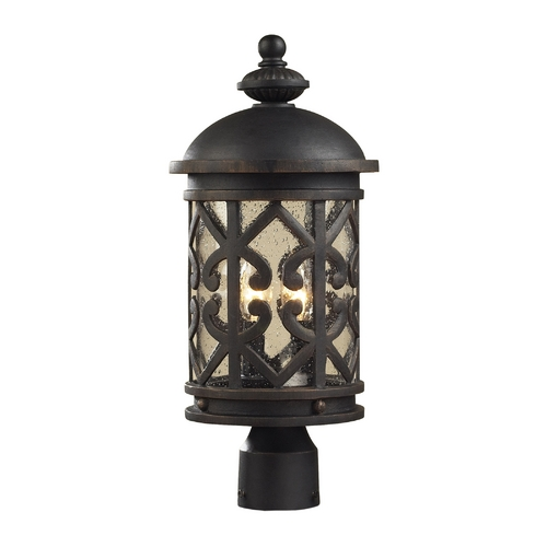 Elk Lighting Post Light with Clear Glass in Weathered Charcoal Finish 42064/2