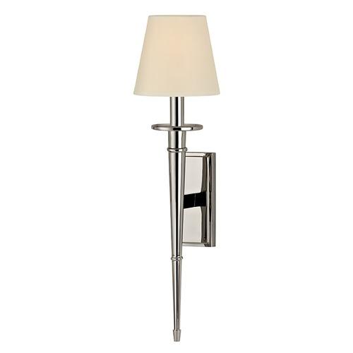 Hudson Valley Lighting Sconce Wall Light with Beige / Cream Paper Shade in Polished Nickel Finish 220-PN