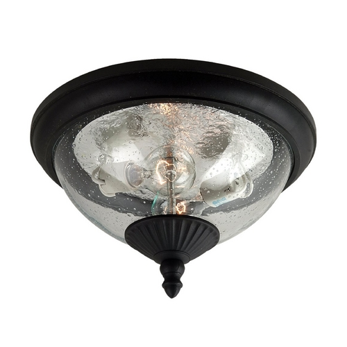 Sea Gull Lighting Close To Ceiling Light with Clear Glass in Black Finish 88068-12