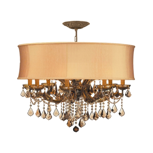 Crystorama Lighting Crystal Chandelier with Gold Shade in Antique Brass Finish 4489-AB-SHG-GTS