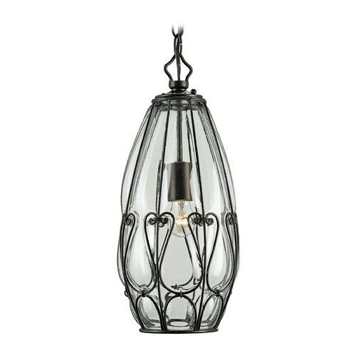 Currey and Company Lighting Modern Mini-Pendant Light with Clear Glass in Satin Black Finish 9199