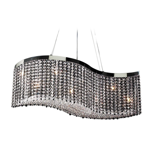 PLC Lighting Modern Pendant Light with Black Glass in Polished Chrome Finish 66020 BK/ PC