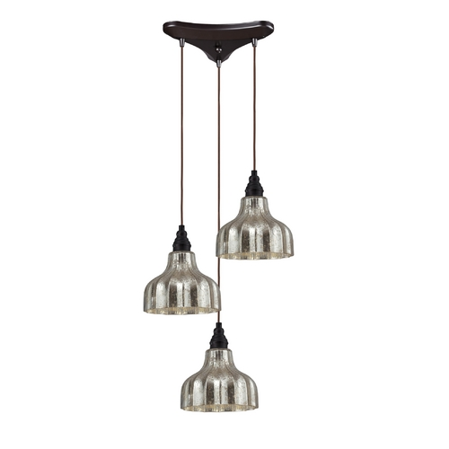 Elk Lighting Multi-Light Pendant Light with Mercury Glass and 3-Lights 46008/3