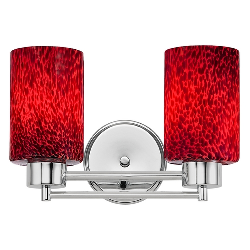 Design Classics Lighting Modern Bathroom Light with Red Glass in Chrome Finish 702-26 GL1018C