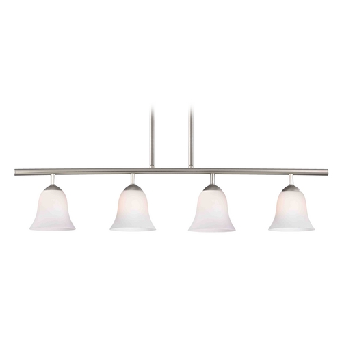Design Classics Lighting Modern Linear Pendant Light with 4-Lights and White Glass in Satin Nickel Finish 718-09 GL9222-WH