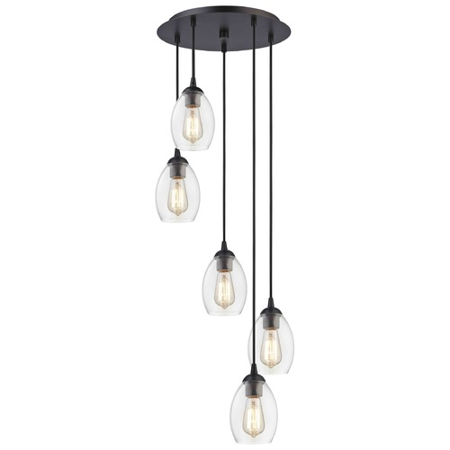 Design Classics Lighting Bronze Multi-Light Pendant with Clear Oblong Glass and 5-Lights 580-220 GL1034-CLR