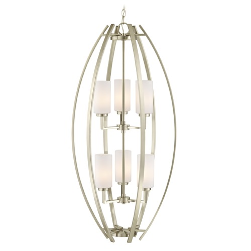Design Classics Lighting Design Classics Serenity Satin Nickel Pendant Light with Cylindrical Shade 1693-09