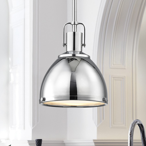 Design Classics Lighting Nautical Mini-Pendant Chrome with Metal Shade 7.38-Inch Wide 1762-26 SH1775-26 R1775-26