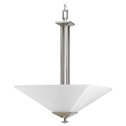 Progress Lighting Progress Pendant Light with White Glass in Brushed Nickel Finish P3906-09