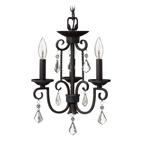 Hinkley Lighting Hinkley 3-Light Crystal Chandelier in Olde Black 3503OL