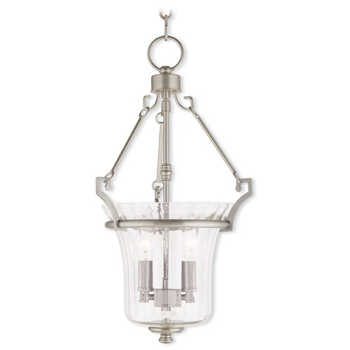Livex Lighting Livex Lighting Cortland Brushed Nickel Pendant Light with Fluted Shade 50922-91