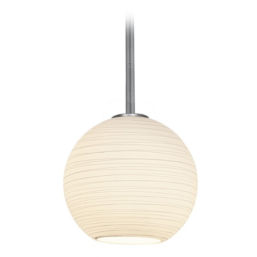 Access Lighting Access Lighting Japanese Lantern Brushed Steel Mini-Pendant Light with Bowl / Dome Shade 28085-3R-BS/WHTLN