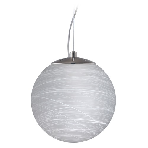 Besa Lighting Besa Lighting Callisto Satin Nickel LED Pendant Light with Globe Shade 1KX-432860-LED-SN