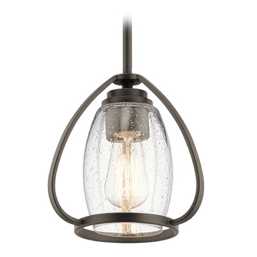 Kichler Lighting Seeded Glass Mini-Pendant Light Olde Bronze Tuscany by Kichler Lighting 44058OZ