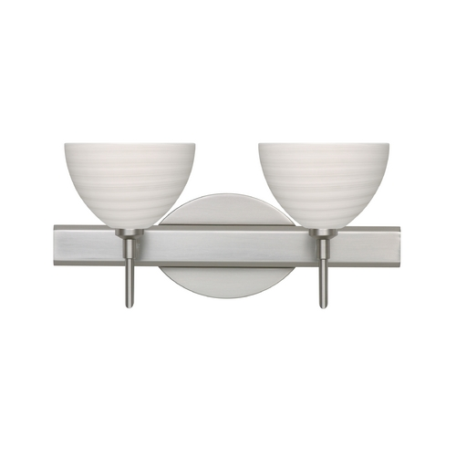 Besa Lighting Modern Bathroom Light with Grey Glass in Satin Nickel Finish 2SW-4679KR-SN