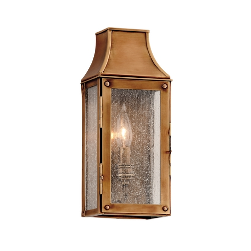 Troy Lighting Outdoor Wall Light with Clear Glass in Heirloom Brass Finish B3420