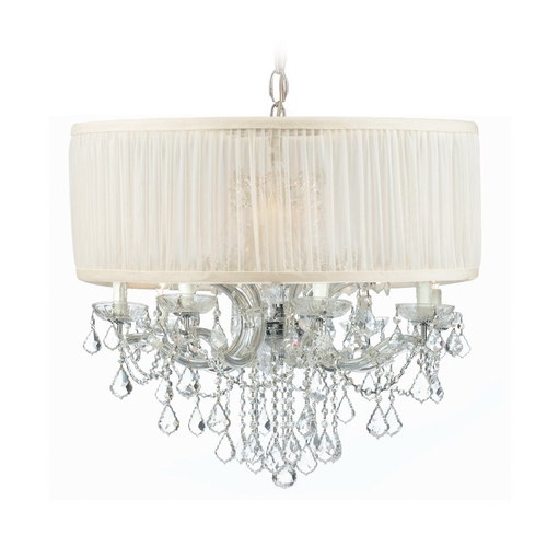 Crystorama Lighting Crystal Chandelier with White Shade in Polished Chrome Finish 4489-CH-SAW-CLM