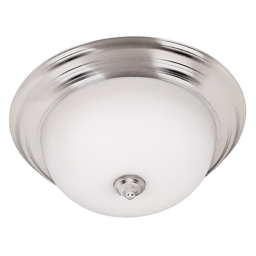 Kenroy Home Lighting Modern Flushmount Light with White Glass in Brushed Steel Finish 80367BS