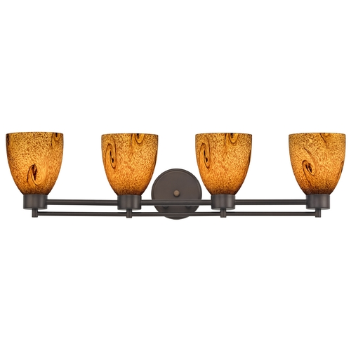 Design Classics Lighting Modern Bathroom Light with Brown Art Glass - Four Lights 704-220 GL1001MB