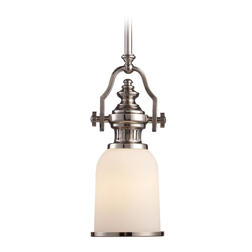 Elk Lighting Elk Lighting Chadwick Polished Nickel LED Mini-Pendant Light with Bowl / Dome Shade 66112-1-LED