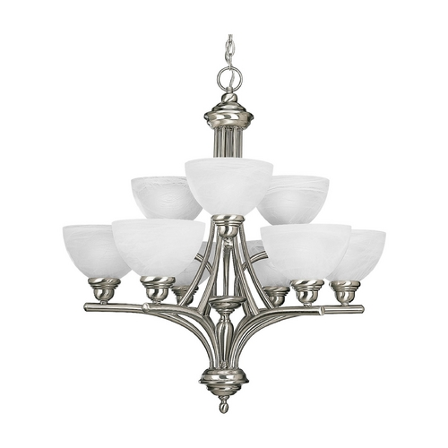 Progress Lighting Progress Chandelier with Alabaster Glass in Brushed Nickel Finish P4085-09
