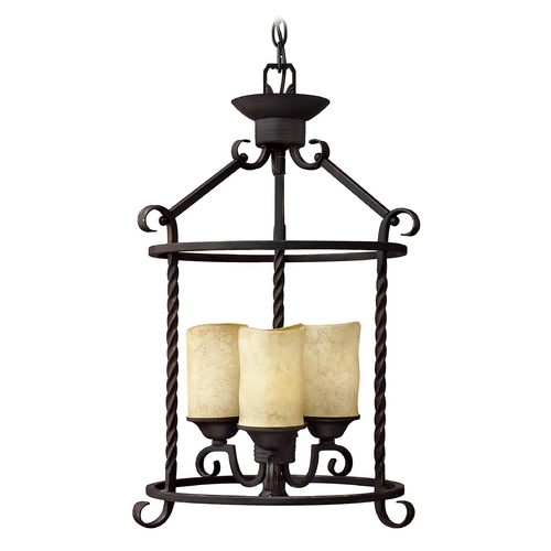 Hinkley Lighting Black Cage Chandelier with Three Lights 3502OL