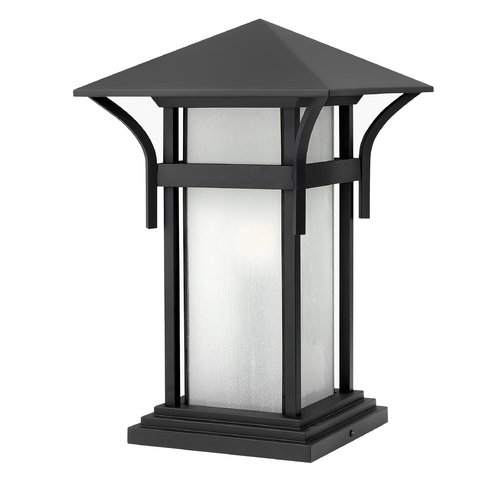 Hinkley Lighting Pier Light with White Glass in Satin Black Finish 2576SK