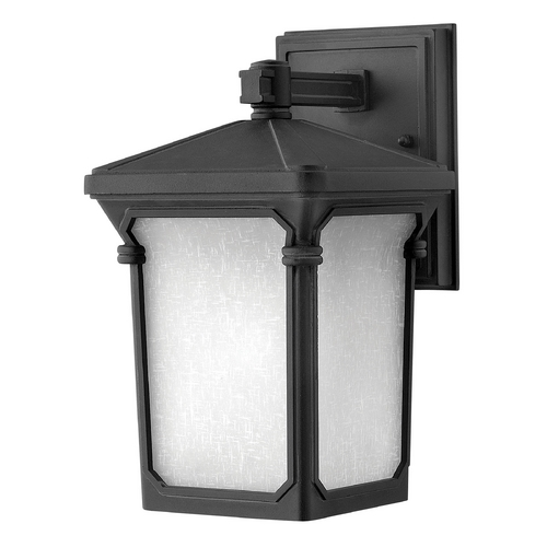 Hinkley Lighting Outdoor Wall Light with White Glass in Museum Black Finish 1356MB-GU24