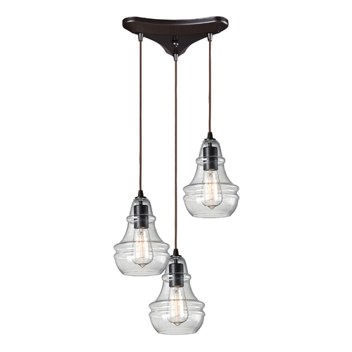Elk Lighting Multi-Light Pendant Light with Clear Glass and 3-Lights 60047-3