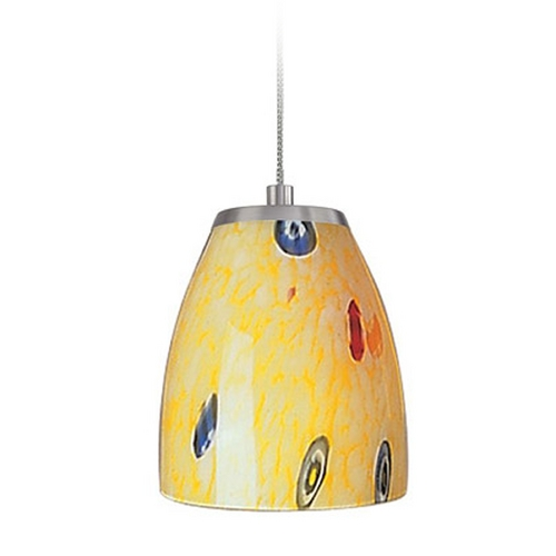 Elk Lighting Low Voltage LED Mini-Pendant Light with Yellow Glass PF1000/1-LED-BN-YW