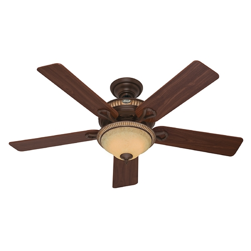 Hunter Fan Company Hunter Fan Company Aventine Cocoa with Spanish Gold Accents Ceiling Fan with Light 53134