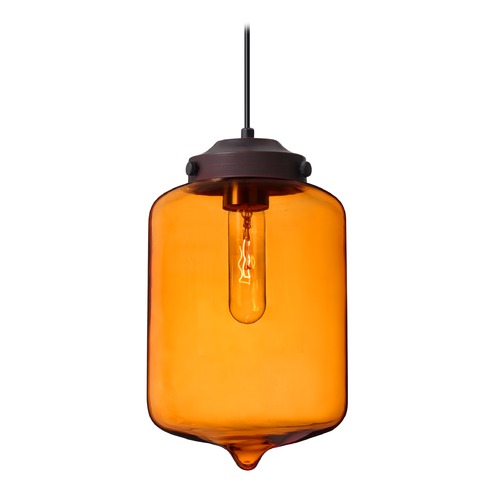 Besa Lighting Besa Lighting Olin Bronze Mini-Pendant Light with Cylindrical Shade 1JT-OLINAM-BR