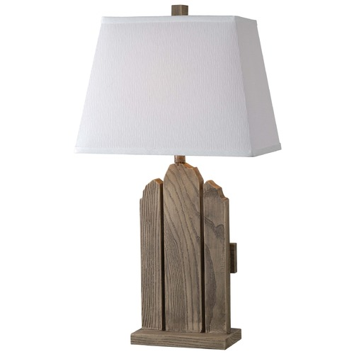 Kenroy Home Lighting Kenroy Home Lighting Sawyer Wood Grain Table Lamp with Rectangle Shade 32546WDG
