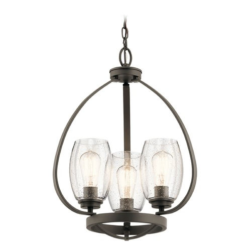 Kichler Lighting Seeded Glass Mini-Chandelier Olde Bronze Tuscany by Kichler Lighting 44059OZ