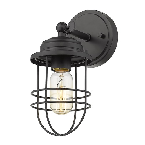 Golden Lighting Golden Lighting Seaport Black Sconce 9808-1WBLK