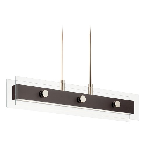 Kichler Lighting Tig Medium Walnut Wood and Polished Nickel LED Pendant 3000K 1050LM 44340WNWLED