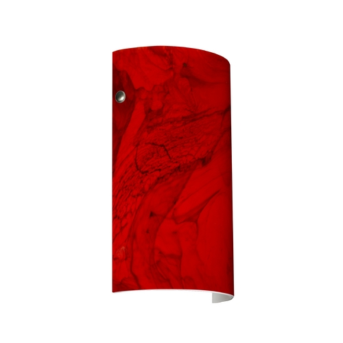 Besa Lighting Modern Sconce Wall Light with Red Glass in Satin Nickel Finish 7042MA-SN