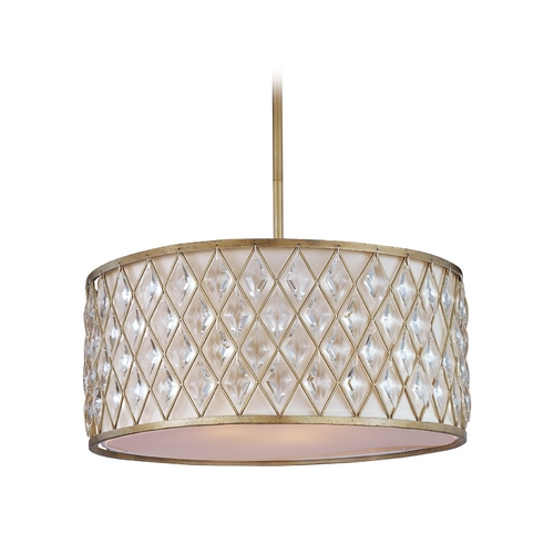 Maxim Lighting Drum Pendant Light with White Shade in Golden Silver Finish 21457OFGS