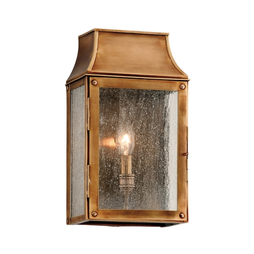 Troy Lighting Outdoor Wall Light with Clear Glass in Heirloom Brass Finish B3421