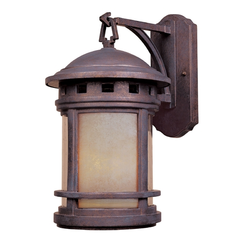 Designers Fountain Lighting Outdoor Wall Light with Amber Glass in Mediterranean Patina Finish 2391-AM-MP