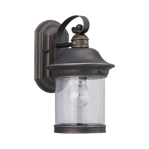 Sea Gull Lighting Outdoor Wall Light with Clear Glass in Antique Bronze Finish 88081-71