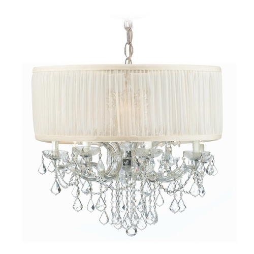 Crystorama Lighting Crystal Chandelier with White Shade in Polished Chrome Finish 4489-CH-SAW-CLQ