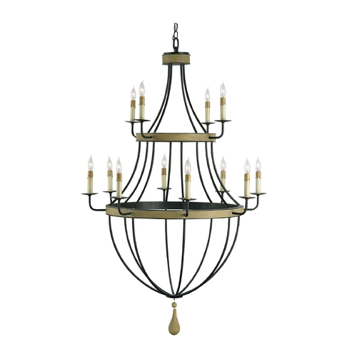 Currey and Company Lighting Modern Chandelier in Umber Rust/washed Wood Finish 9195