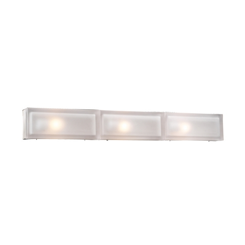PLC Lighting Modern Bathroom Light with White Glass in Satin Nickel Finish 6579 SN