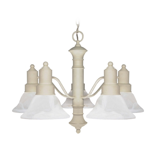 Nuvo Lighting Chandelier with Alabaster Glass in Textured White Finish 60/195