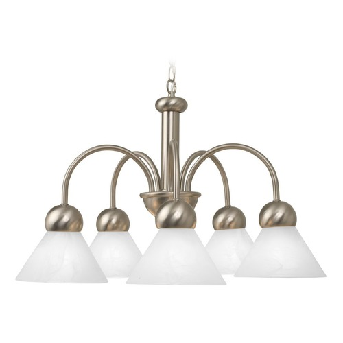 Design Classics Lighting Modern Satin Nickel Chandelier with Alabaster Glass Shades  3980-09